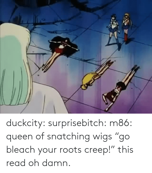 "roots: duckcity:  surprisebitch: m86: queen of snatching wigs ""go bleach your roots creep!"" this read   oh damn."
