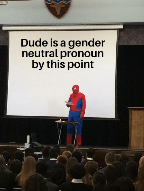 gender neutral: Dude is a gender  neutral pronoun  by this point