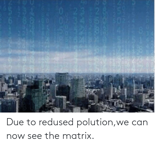 Matrix: Due to redused polution,we can now see the matrix.