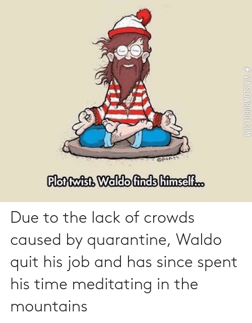 job: Due to the lack of crowds caused by quarantine, Waldo quit his job and has since spent his time meditating in the mountains