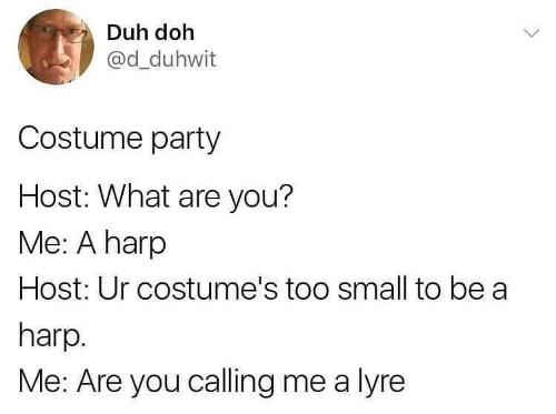you me: Duh doh  @d_duhwit  Costume party  Host: What are you?  Me: A harp  Host: Ur costume's too small to be a  harp.  Me: Are you calling me a lyre