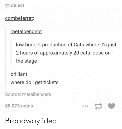 Low Budget: dulect  combeferret:  netalbenders:  low budget production of Cats where it's just  2 hours of approximately 20 cats loose on  the stage  brilliant  where do i get tickets  Source: rnetalbenders  88,073 notes Broadway idea