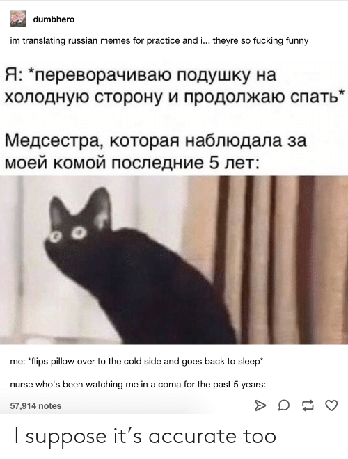 "nurse: dumbhero  im translating russian memes for practice and ... theyre so fucking funny  Я: ""переворачиваю подушку на  холодную сторону и продолжаю спать""  Медсестра, которая наблюдала за  моей комой последние 5 лет:  me: *flips pillow over to the cold side and goes back to sleep*  nurse who's been watching me in a coma for the past 5 years:  57,914 notes I suppose it's accurate too"