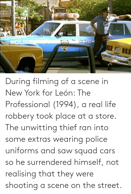 ran: During filming of a scene in New York for León: The Professional (1994), a real life robbery took place at a store. The unwitting thief ran into some extras wearing police uniforms and saw squad cars so he surrendered himself, not realising that they were shooting a scene on the street.