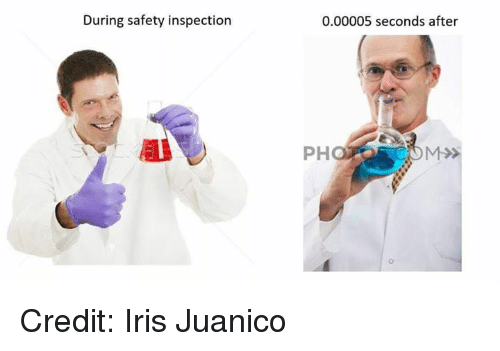 Memes, Iris, and 🤖: During safety inspection  0.00005 seconds after  PH  0 Credit: Iris Juanico