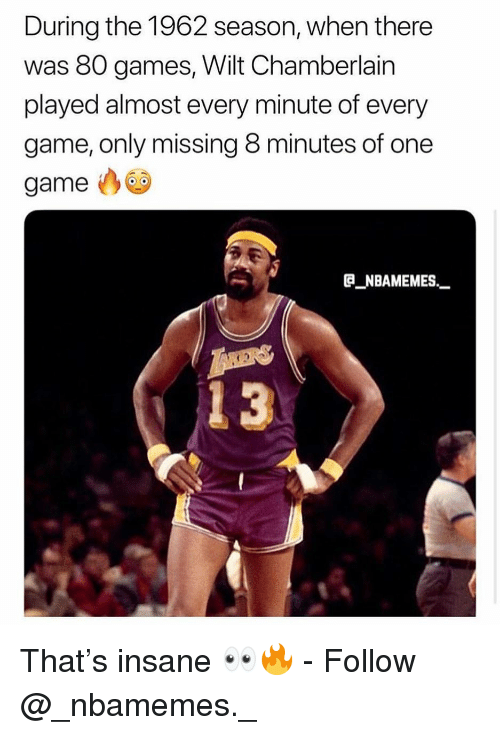 8 Minutes: During the 1962 season, when there  was 80 games, Wilt Chamberlain  played almost every minute of every  game, only missing 8 minutes of one  game  B NBAMEMES_  13 That's insane 👀🔥 - Follow @_nbamemes._
