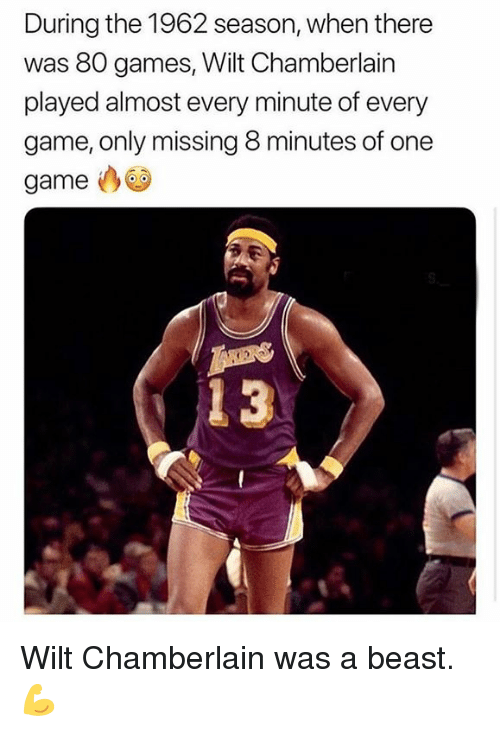 8 Minutes: During the 1962 season, when there  was 80 games, Wilt Chamberlain  played almost every minute of every  game, only missing 8 minutes of one  game Wilt Chamberlain was a beast. 💪