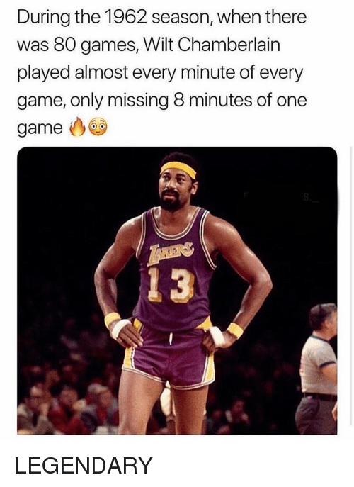 8 Minutes: During the 1962 season, when there  was 80 games, Wilt Chamberlain  played almost every minute of every  game, only missing 8 minutes of one  game  4 3 LEGENDARY