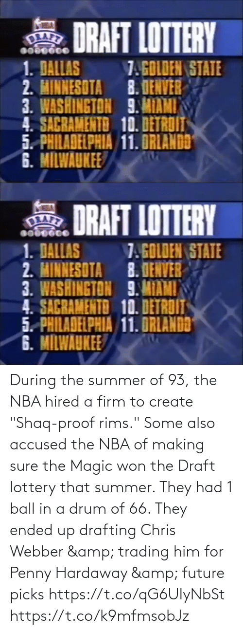 """create: During the summer of 93, the NBA hired a firm to create """"Shaq-proof rims.""""   Some also accused the NBA of making sure the Magic won the Draft lottery that summer. They had 1 ball in a drum of 66. They ended up drafting Chris Webber & trading him for Penny Hardaway & future picks https://t.co/qG6UIyNbSt https://t.co/k9mfmsobJz"""