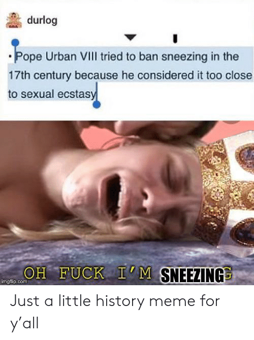 Meme, Pope Francis, and Fuck: durlog  Pope Urban VIII tried to ban sneezing in the  17th century because he considered it too close  to sexual ecstasy  OH FUCK I'M SNEEZING  imgfip.com Just a little history meme for y'all