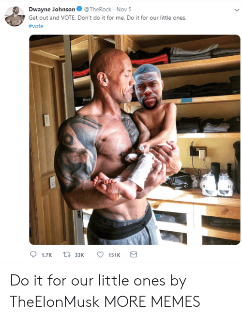 Dank, Dwayne Johnson, and Memes: Dwayne Johnson@TheRock- Nov 5  Get out and VOTE. Don't do it for me. Do it for our little ones.  Do it for our little ones by TheEIonMusk MORE MEMES