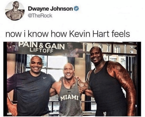 Dwayne Johnson: Dwayne Johnson  @TheRock  now i know how Kevin Hart feels  LIFTOFF  I MIAMI