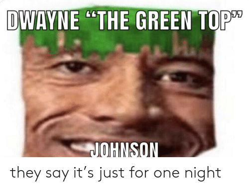 Say It, Top, and One: DWAYNE THE GREEN TOP  JOHNSON they say it's just for one night