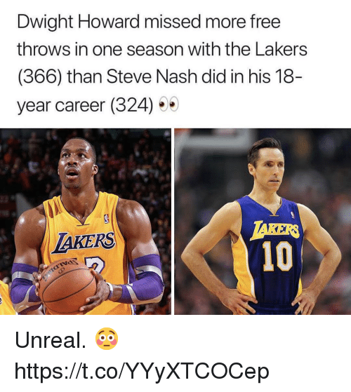 Taker: Dwight Howard missed more free  throws in one season with the Lakers  (366) than Steve Nash did in his 18  year career (324) 5  TAKER  10  LAKERS Unreal. 😳 https://t.co/YYyXTCOCep
