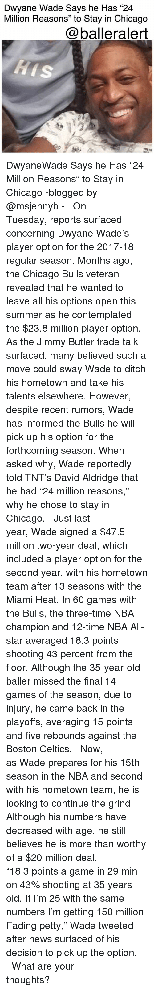 "nba all stars: Dwyane Wade Says he Has ""24  Million Reasons"" to Stay in Chicago  @balleralert DwyaneWade Says he Has ""24 Million Reasons"" to Stay in Chicago -blogged by @msjennyb - ⠀⠀⠀⠀⠀⠀⠀ ⠀⠀⠀⠀⠀⠀⠀ On Tuesday, reports surfaced concerning Dwyane Wade's player option for the 2017-18 regular season. Months ago, the Chicago Bulls veteran revealed that he wanted to leave all his options open this summer as he contemplated the $23.8 million player option. As the Jimmy Butler trade talk surfaced, many believed such a move could sway Wade to ditch his hometown and take his talents elsewhere. However, despite recent rumors, Wade has informed the Bulls he will pick up his option for the forthcoming season. When asked why, Wade reportedly told TNT's David Aldridge that he had ""24 million reasons,"" why he chose to stay in Chicago. ⠀⠀⠀⠀⠀⠀⠀ ⠀⠀⠀⠀⠀⠀⠀ Just last year, Wade signed a $47.5 million two-year deal, which included a player option for the second year, with his hometown team after 13 seasons with the Miami Heat. In 60 games with the Bulls, the three-time NBA champion and 12-time NBA All-star averaged 18.3 points, shooting 43 percent from the floor. Although the 35-year-old baller missed the final 14 games of the season, due to injury, he came back in the playoffs, averaging 15 points and five rebounds against the Boston Celtics. ⠀⠀⠀⠀⠀⠀⠀ ⠀⠀⠀⠀⠀⠀⠀ Now, as Wade prepares for his 15th season in the NBA and second with his hometown team, he is looking to continue the grind. Although his numbers have decreased with age, he still believes he is more than worthy of a $20 million deal. ⠀⠀⠀⠀⠀⠀⠀ ⠀⠀⠀⠀⠀⠀⠀ ""18.3 points a game in 29 min on 43% shooting at 35 years old. If I'm 25 with the same numbers I'm getting 150 million Fading petty,"" Wade tweeted after news surfaced of his decision to pick up the option. ⠀⠀⠀⠀⠀⠀⠀ ⠀⠀⠀⠀⠀⠀⠀ What are your thoughts?"