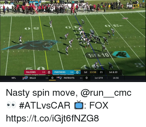 Memes, Nasty, and Patriotic: DXNFL  1ST &10  FALCONS 59 O PANTHERS 6-8  1st 13:58 21 1st & 10  590 PATRIOTS 9-50 1st QTR  14:56 Nasty spin move, @run__cmc 👀 #ATLvsCAR  📺: FOX https://t.co/iGjt6fNZG8