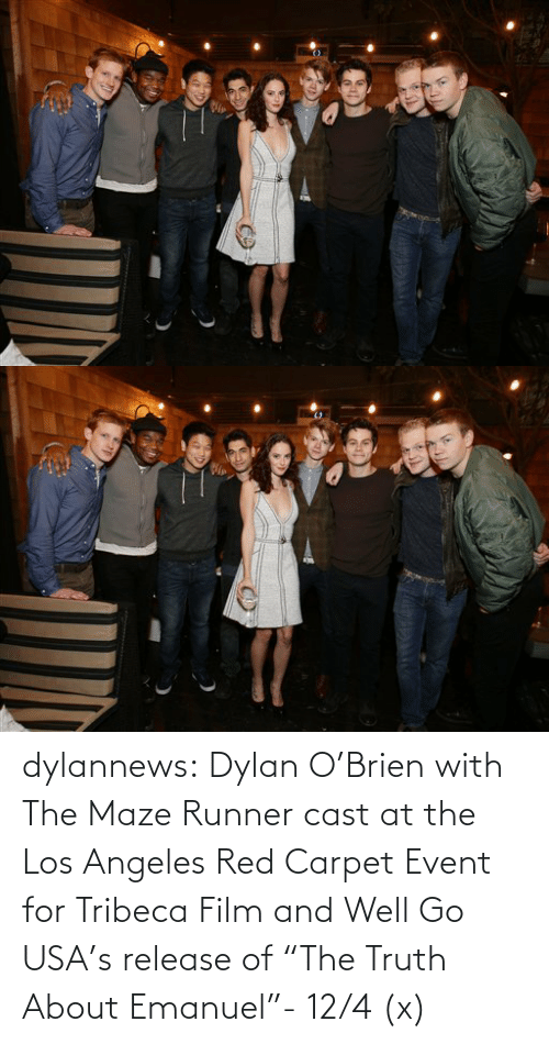 "Emanuel: dylannews:  Dylan O'Brien with The Maze Runner cast at the Los Angeles Red Carpet Event for Tribeca Film and Well Go USA's release of ""The Truth About Emanuel""- 12/4 (x)"