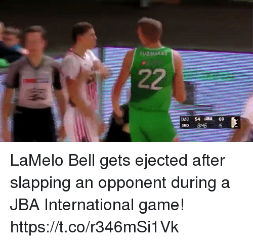 Memes, Game, and International: DZU 54 JBA 69 LaMelo Bell gets ejected after slapping an opponent during a JBA International game! https://t.co/r346mSi1Vk