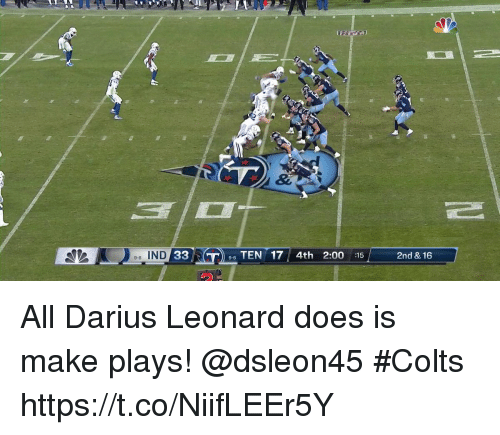 Leonard: e-6 IND  33  TEN 17 4th 2:00:15  2nd & 16  9-6 All Darius Leonard does is make plays! @dsleon45  #Colts https://t.co/NiifLEEr5Y