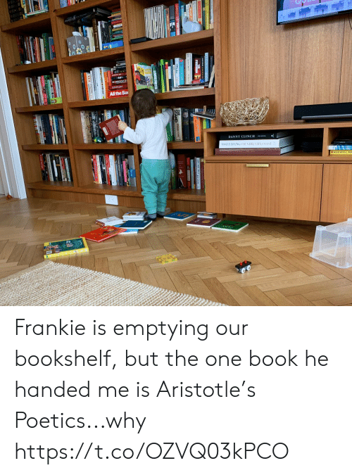 Memes, Aristotle, and Book: E ANTOLOGYO  EMIN3M  All the So  DANNY CLINCH  OGUELIVING COUNTRY CITY  COAST  GOMTE FOPTRS202016  MAD  D D Frankie is emptying our bookshelf, but the one book he handed me is Aristotle's Poetics...why https://t.co/OZVQ03kPCO