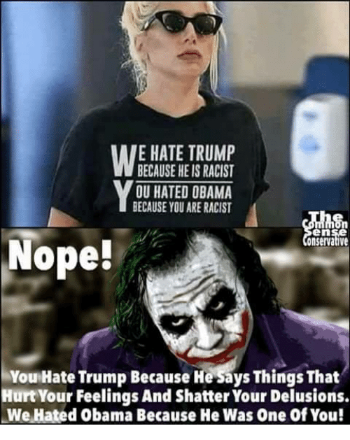 Hate Trump: E HATE TRUMP  BECAUSE HE IS RACIST  OU HATED OBAMA  BECAUSE YOU ARE RACIST  en  onservative  Nope!  You Hate Trump Because He Says Things That  Hurt Your Feelings And Shatter Your Delusions.  We Hated Obama Because He Was One of You!