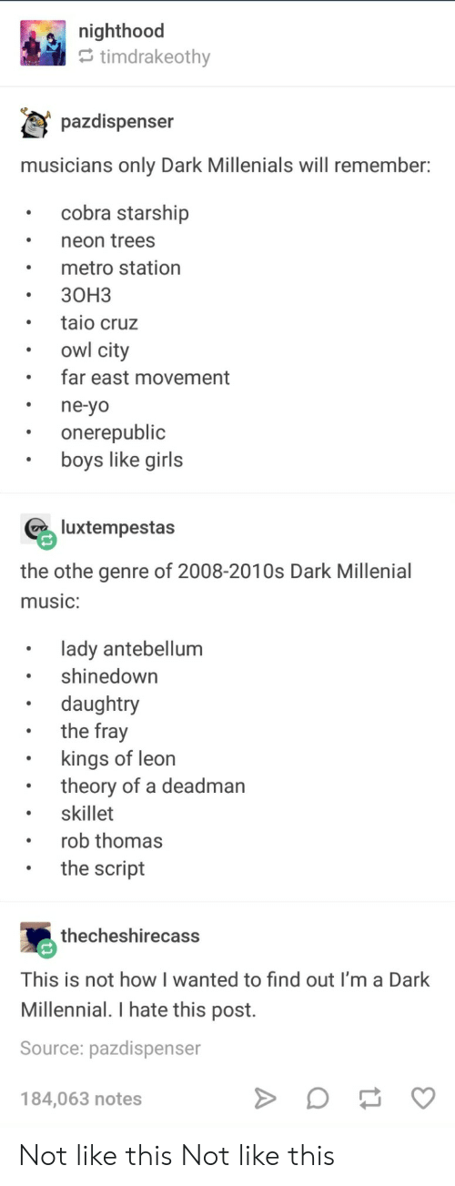 Girls, Music, and Yo: e nighthood  timdrakeothv  pazdispenser  musicians only Dark Millenials will remember  cobra starship  neon trees  metro station  30H3  taio cruz  owl city  far east movement  ne-yo  onerepublic  boys like girls  luxtempestas  the othe genre of 2008-2010s Dark Millenial  music:  lady antebellum  shinedown  daughtry  the fray  . kings of leon  . skillet  .the script  theory of a deadman  rob thomas  thecheshirecass  This is not how I wanted to find out I'm a Dark  Millennial. I hate this post.  Source: pazdispenser  184,063 notes Not like this Not like this