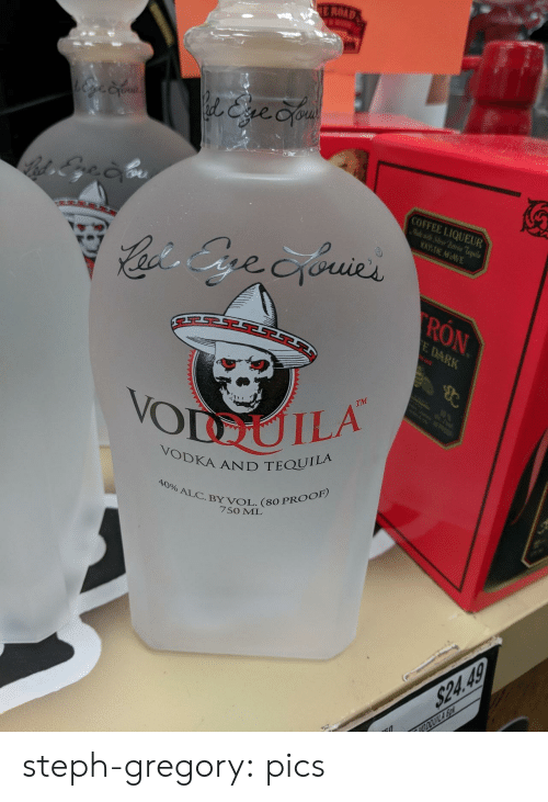 Vodka: E ROAD  l&ve Cyou  COFFEE LIQUEUR  Mlewit Sier Patrn Teila  WDE AGAVE  Cacis Gre cyouies  RON  E DARK  B  TM  10  VODUILA  POOP  VODKA AND TEQUILA  40% ALC.BY VOL. (80 PROOF)  7SO ML  $24.49  VODOUILA So steph-gregory:  pics