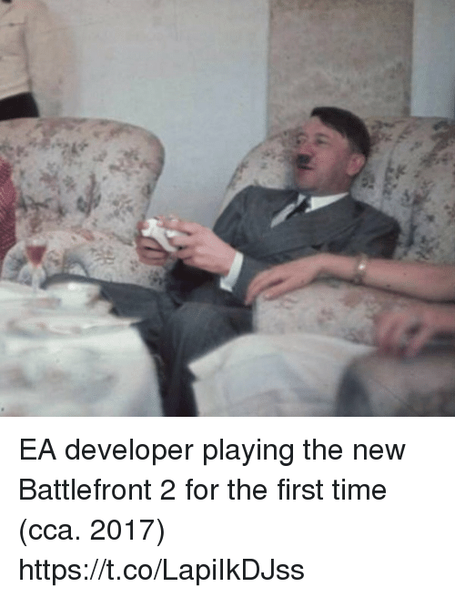 cca: EA developer playing the new Battlefront 2 for the first time (cca. 2017) https://t.co/LapiIkDJss