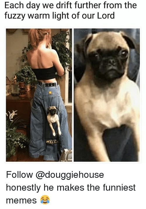 lighted: Each day we drift further from the  fuzzy warm light of our Lord Follow @douggiehouse honestly he makes the funniest memes 😂