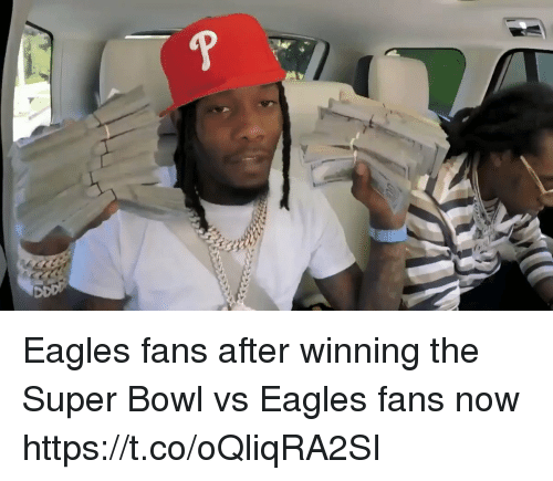 Philadelphia Eagles, Sports, and Super Bowl: Eagles fans after winning the Super Bowl vs Eagles fans now https://t.co/oQliqRA2SI