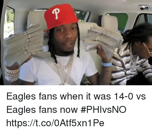 Philadelphia Eagles, Sports, and Now: Eagles fans when it was 14-0 vs Eagles fans now #PHIvsNO https://t.co/0Atf5xn1Pe