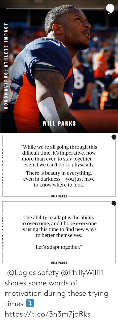 Safety: .@Eagles safety @PhillyWill11 shares some words of motivation during these trying times ⤵️ https://t.co/3n3m7jqRks