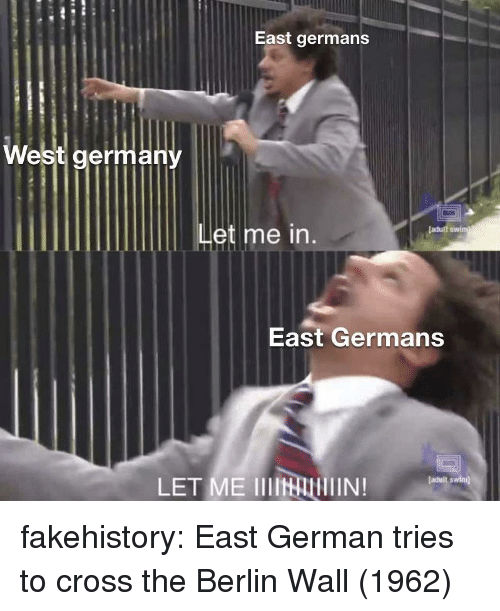 Tumblr, Adult Swim, and Blog: East germans  West germany  et me  [adult swim  East Germans  LET ME IIIINAIN!  faduit swimj fakehistory:  East German tries to cross the Berlin Wall (1962)