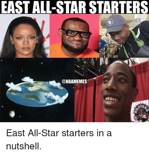All Star, Nba, and Star: EASTALL-STAR STARTERS  @NBAMEMES East All-Star starters in a nutshell.