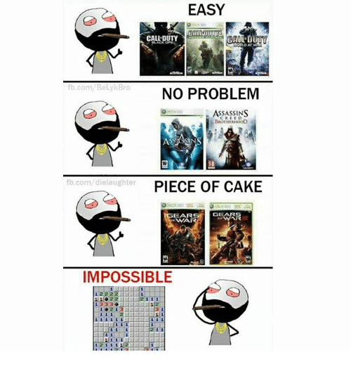 Imposses: EASY  CALL DUTY  fb.com BelykBro  NO PROBLEM  ASSASSINS  BROTHERHOOD  18  fb.com die laughter  PIECE OF CAKE  EAR  GEA  WIA  IMPOSSIBLE  1 11  1333  1 1 1 1 1 1