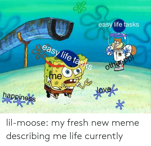 Fresh, Life, and Meme: easy life tasks  easy life tasks lil-moose: my fresh new meme describing me life currently