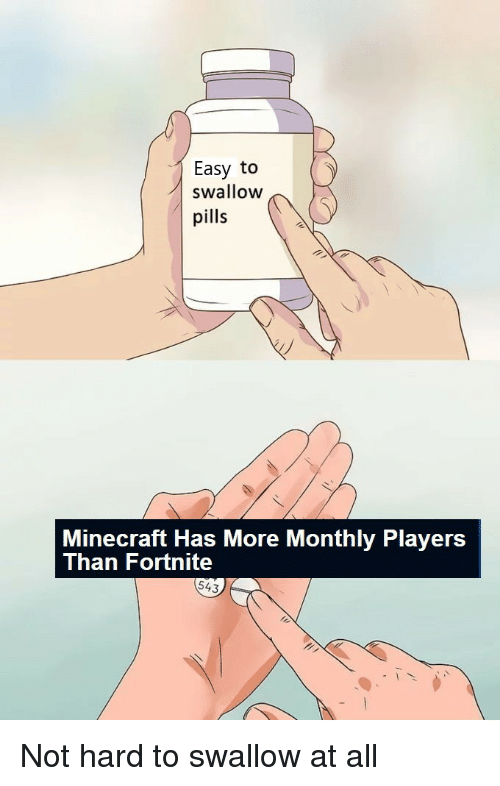 Minecraft, Easy, and All: Easy to  swallow  pills  Minecraft Has More Monthly Players  Than Fortnite  543 Not hard to swallow at all