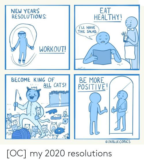 positive: EAT  HEALTHY!  NEW YEARS  RESOLUTIONS:  TLL HAVE  THE SALAD.  WORKOUT!  BE MORE  POSITIVE!  BECOME KING OF  ALL CATS!  @ OKBLUE COMICS [OC] my 2020 resolutions
