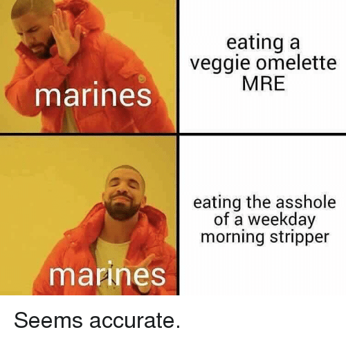 omelette: eating a  veggie omelette  MRE  marines  eating the asshole  of a weekday  morning stripper  mannes Seems accurate.
