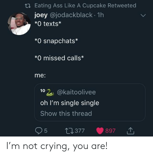 cupcake: Eating Ass Like A Cupcake Retweeted  joey @jodackblack. 1h  *0 texts*  *O snapchats*  *0 missed calls*  me:  102 @kaitoolivee  oh I'm single single  Show this thread  95 t0377 897 I'm not crying, you are!