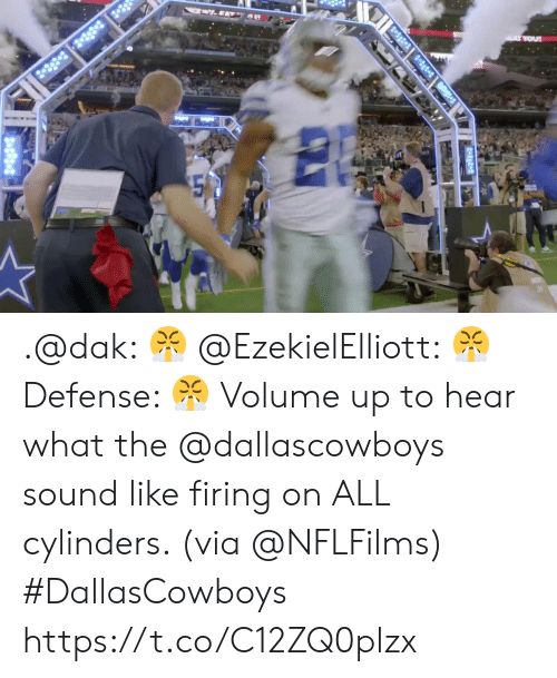 Volume Up: ..EATY A  2-38 3 8  A YOU .@dak: 😤 @EzekielElliott: 😤 Defense: 😤  Volume up to hear what the @dallascowboys sound like firing on ALL cylinders. (via @NFLFilms) #DallasCowboys https://t.co/C12ZQ0plzx