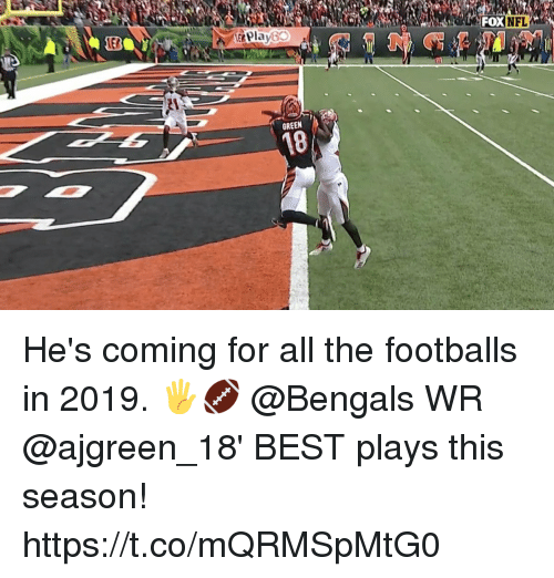 Bengals: EB  &Play60  OXNFL  GREEN  18 He's coming for all the footballs in 2019. 🖐🏈  @Bengals WR @ajgreen_18' BEST plays this season! https://t.co/mQRMSpMtG0