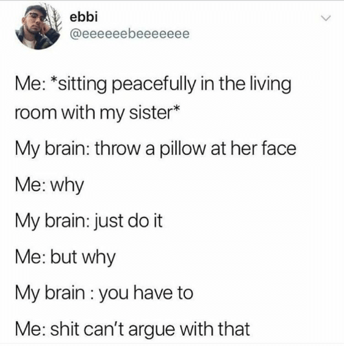 Arguing, Dank, and Just Do It: ebbi  Me: *sitting peacefully in the living  room with my sister*  My brain: throw a pillow at her face  Me: why  My brain: just do it  Me: but why  My brain : you have to  Me: shit can't argue with that