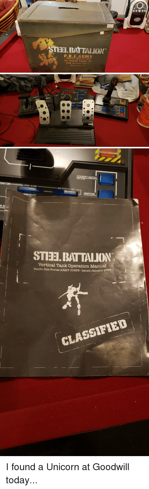 goodwill: EBGAMES  STEEI. BAT TALION  P.R.F.ARMY  PACIFIC RI FORCES ARMY CORPS  7th Special Panzer Div  34t:h Special Panzer  B a   AIGHT BLOC  5  CENT  3  SUB  MAGAZINE CHANG   COCKPIT HATCH  OPEN/CLOSE  ONITOR  OPEN/CLOSE  MAP ZOOM IN/OUT  IGNITION  SELECT  STIEH.BATTALION  Vertical Tank Operation Manual  Pacific Rim Forces ARMY CORPS-Issued January  2079  翥.  CLASSIFIED I found a Unicorn at Goodwill today...