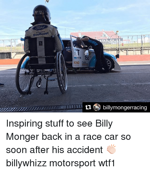 Mongering: EcoBoost  11billymongerracing Inspiring stuff to see Billy Monger back in a race car so soon after his accident 👏🏻 billywhizz motorsport wtf1