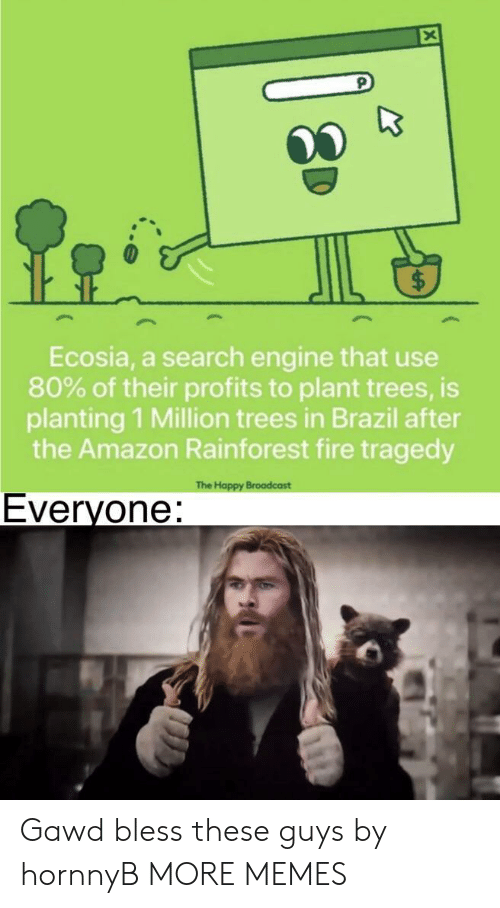 Brazil: Ecosia, a search engine that use  80% of their profits to plant trees, is  planting 1 Million trees in Brazil after  the Amazon Rainforest fire tragedy  The Happy Broadcast  Everyone: Gawd bless these guys by hornnyB MORE MEMES