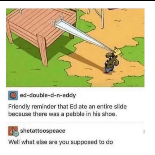 Shoe, Double, and You: ed-double-d-n-eddy  Friendly reminder that Ed ate an entire slide  because there was a pebble in his shoe.  shetattoospeace  Well what else are you supposed to do