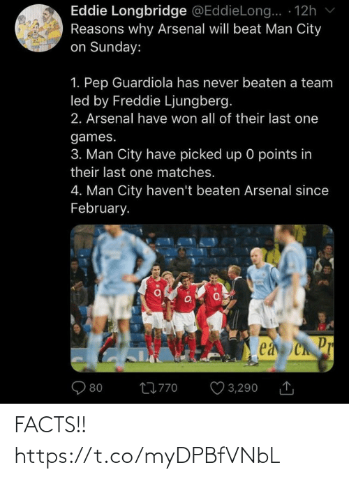 Arsenal, Facts, and Memes: Eddie Longbridge @EddieLong.. · 12h v  Reasons why Arsenal will beat Man City  on Sunday:  1. Pep Guardiola has never beaten a team  led by Freddie Ljungberg.  2. Arsenal have won all of their last one  games.  3. Man City have picked up 0 points in  their last one matches.  4. Man City haven't beaten Arsenal since  February.  ea Ch Pr  O 3,290  27770 FACTS!! https://t.co/myDPBfVNbL