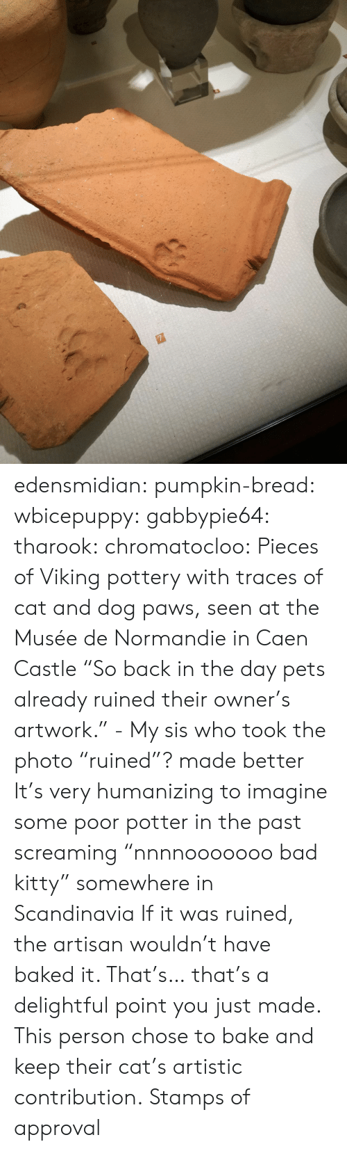 "Bad, Baked, and Tumblr: edensmidian:  pumpkin-bread:  wbicepuppy:  gabbypie64:  tharook:  chromatocloo:  Pieces of Viking pottery with traces of cat and dog paws, seen at the Musée de Normandie in Caen Castle ""So back in the day pets already ruined their owner's artwork."" - My sis who took the photo   ""ruined""? made better   It's very humanizing to imagine some poor potter in the past screaming ""nnnnooooooo bad kitty"" somewhere in Scandinavia   If it was ruined, the artisan wouldn't have baked it.   That's… that's a delightful point you just made. This person chose to bake and keep their cat's artistic contribution.   Stamps of approval"