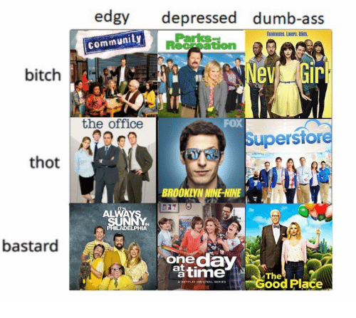 7 In: edgy depressed dumb-ass  Roommates. Lovers. Idiuts.  Parks  community  Receation  bitch  the office  FoX  Superstore  thot  BROOKLYNNINE-NINE  ALWAYS 7  IN  ELPHIA  bastard  onedaY  timed Place  The  A NETFLIK ORIGINAL SERIES